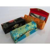 promotion(Random Colours)Lipstick Case - 3pcs Set Satin Silky Fabric Lipstick Case w/Mirror Random Assorted Floral Prints 8.9cm L x 3.2cm W Super Value.