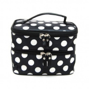 DEDC Double Layer Cosmetic Bag Black with White Dot Travel Toiletry Cosmetic Makeup Bag Organiser With Mirror