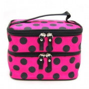 DEDC Double Layer Cosmetic Bag Rose Red with Black Dot Travel Toiletry Cosmetic Makeup Bag Organiser With Mirror