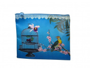 Beautiful Art Bird and Birdcage Oriental Zen Art Flat Makeup Bag