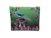 Beautiful Art Blue Bird in Fantasy Magical Garden Flat Makeup Bag