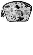 """White """"Vintage Rodder"""" with Black Hot Rods, Tyres, Coils, and Racing Flags Makeup Case from Sourpuss Clothing"""