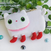 [White Kitty] Medium Plush Gadget Cosmetic Bag / Camera bag / Hand Purse Wallet