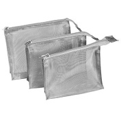 Kingsley Silver Mesh Travel/Cosmetic Bag Set