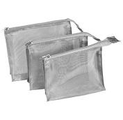 Kingsley Silver Mesh Travel/Cosmetic Bag Set