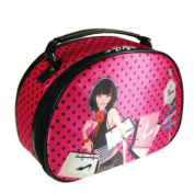 SoHo Shopping Girl Round Top Train Case Polka Dot Hot Pink and Black