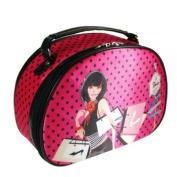 SoHo Shopping Girl Round Top Train Case Polka Dot Hot Pink and Black