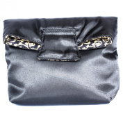 Small Reversible Cosmetic Bag With Magnet Flap Closure, Satin Black & Cotton