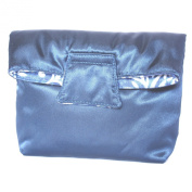 Small Reversible Cosmetic Bag With Magnet Flap Closure, Satin Dark Blue & Cotton