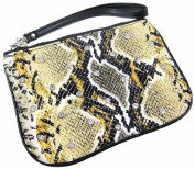 Tan Python Print Rhinestone Wristlet Bag Cosmetic