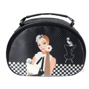 Chic Sophisticate Round Top Train Case Black & White
