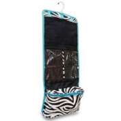 Zebra Hanging Fold up Cosmetic Bag w/ Aqua Blue Trim