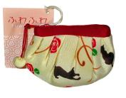 Black Cat Cream Japanese Kimono Fuwafuwa Mini Pouch
