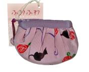 Black Cat Pink Japanese Kimono Fuwafuwa Mini Pouch