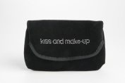 "Miamica Rhinestone Embroidered ""kiss and make-up"" Black Velvet Pattern Make Up Case and Mirror Travel Cosmetic Bag Organiser"