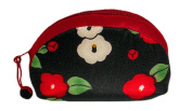 Camellia Black Japanese Kimono Fuwafuwa Half Moon Mini Pouch