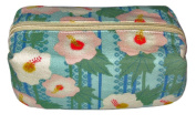 Floral Blue Japanese Kimono Print Chirimen Cosmetic Pouch