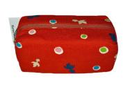 Goldfish Red Japanese Kimono Print Chirimen Cosmetic Pouch