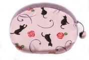 Black Cats Pink Japanese Kimono Fuwafuwa Half Moon Pouch