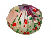 Camellia Beige Japanese Kimono Fuwafuwa Drawstring Bag L