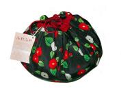 Camellia Black Japanese Kimono Fuwafuwa Drawstring Bag L
