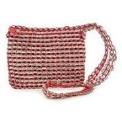 Soda pop-top cosmetics shoulder bag, 'Chic Red'
