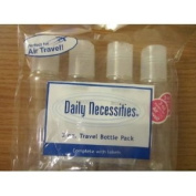 Daily Necessities Travel Bottle Set 4pc 90ml Transparent Travel Bottles Complete with Labels Perfect for AIR Travel!