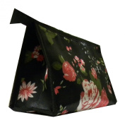 Black Cosmetic Toiletry Bag with Red Roses