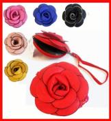 New Leather Wristlets Bag w/ Flower 5'' PICK A colour!!!