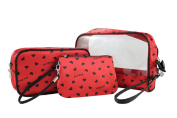 Heart Pattern 3pc Rectangular Travel Set Red