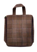 Bellemonde Manor House Brown Plaid Print Hanging Luggage Travel Case Toiletry Bag Travel Kit