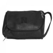 NCAA Nebraska Cornhuskers Black Leather Deluxe Shave Kit