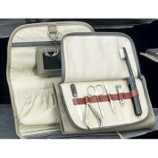 Manicure and Toiletry Bag with Hanger in Ultra Suede, Leather Case, Tarnish Proof