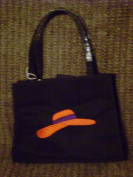 Black Straight Sided Purse with Embroidered Red Hat