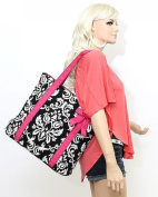 Belvah Quilted Leaf Pattern Tote Handbag with Detachable Ribbon - Lime and Fuchsia
