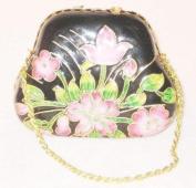Cloisonne Pink Floral Black Mini Metallic Purse