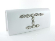 "Silver ""Farrah"" Crystal Evening Bag Bridal Jewelled Clutch Purse Handbag By Dikuza"