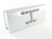 "White ""Farrah"" Crystal Evening Bag Bridal Jewelled Clutch Purse Handbag By Dikuza"