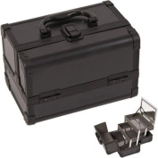 JustCase M1001PPAB Cosmetic Makeup Train Case with Mirror and Easy Clean Extendable Trays, Black Smooth