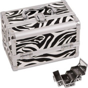 JustCase M1001 Cosmetic Makeup Train Case with Mirror and Easy Clean Extendable Trays, Zebra