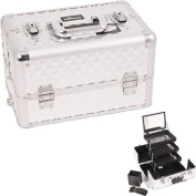SILVER INTERCHANGEABLE 3-TIERS EXTENDABLE TRAY DIAMOND PATTERN PROFESSIONAL aluminium COSMETIC MAKEUP CASE WITH MIRROR - E3305