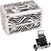 WHITE INTERCHANGEABLE 3-TIERS EXTENDABLE TRAY ZEBRA TEXTURED PRINTING PROFESSIONAL aluminium COSMETIC MAKEUP CASE WITH MIRROR - E3305