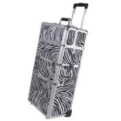 Professional Rolling Train Cosmetic Makeup Case Zebra