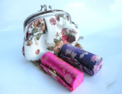 Lipstick Case And Gorgeous Hand-Held Fashion Coin Purse - 2pcs Set Random Assorted Colours Satin Silky Fabric Lipstick Case,Lipstick Holder w/Mirror. Random Assorted Gorgeous Design ,8.9cm L x 3.2cm W Standard Size Super Value,Good for Birthday Gifts-- ..