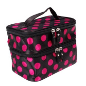 Polka Dots Double Layer Dual Zipper Cosmetic Bag Toiletry Bag Make-up Bag Hand Case Bag