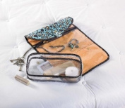 Mud Pie Leopard Lagoon Hanging Travel Jewellery Cosmetic Case and Toiletry Bag