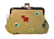 Goldfish Beige Kimono Print Chirimen Cosmetic Pouch