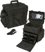 Soft-sided Black Nylon, Carry on Professional Makeup Case w/ Removable Drawers and Brush Holder