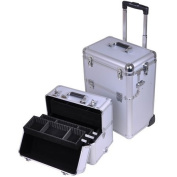 Professional Heavy Duty Rolling Train Cosmetic Makeup Case Silver