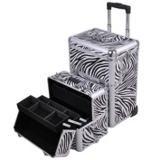 Professional Rolling Train Cosmetic Makeup Case Zebra Design